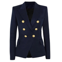 New Fashion 2017 Designer Blazer Jacket Women S Double Breasted Metal Lion Buttons Blazer Outer