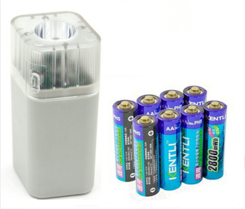ФОТО 8pcs 1.5v 3000mWh Li-polymer r lithium rechargeable AA battery + 4 slots Charger w/ LED flashlight fuction