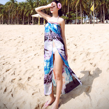 2016 Summer Print Beach Cover Up Bikini Bathing Suit Cover Ups BeachWear irregular Swimsuit Long Coverup