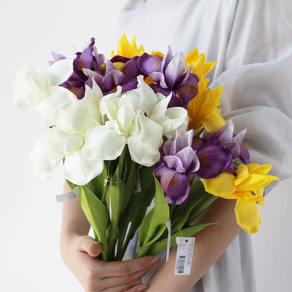 Pu feel simulation orchid iris artificial flower home for Artificial flowers decoration home