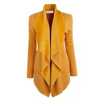 Winter Plus Thick Casual Open Stitch Long Coat Female Elegant Warm Cardigan Coat Women Pure Color