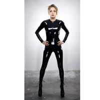 Hot Lady Leather Latex Zentai Jumpsuit Catsuit Smooth Wetlook Front Zipper Elastic Valentine S Day Sexy