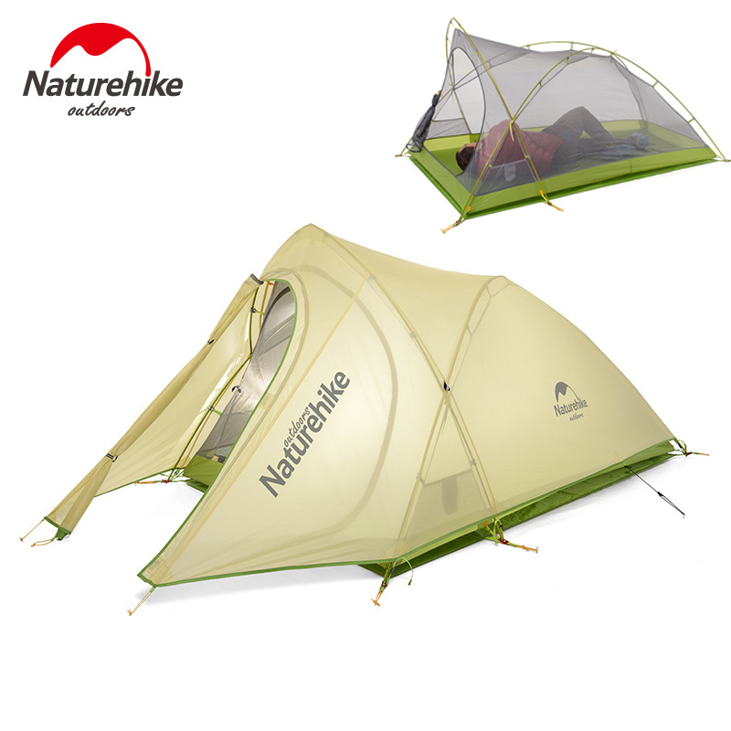 Naturehike Camping Tent outdoor Hike 20D Silicone Fabric Ultralight 2 Person Double Layers Tent Aluminum Rod   DHL free shipping