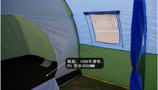 10persons large family tent/camping tent/tunnel tent/1Hall 2room outdoor travel party tent equipment