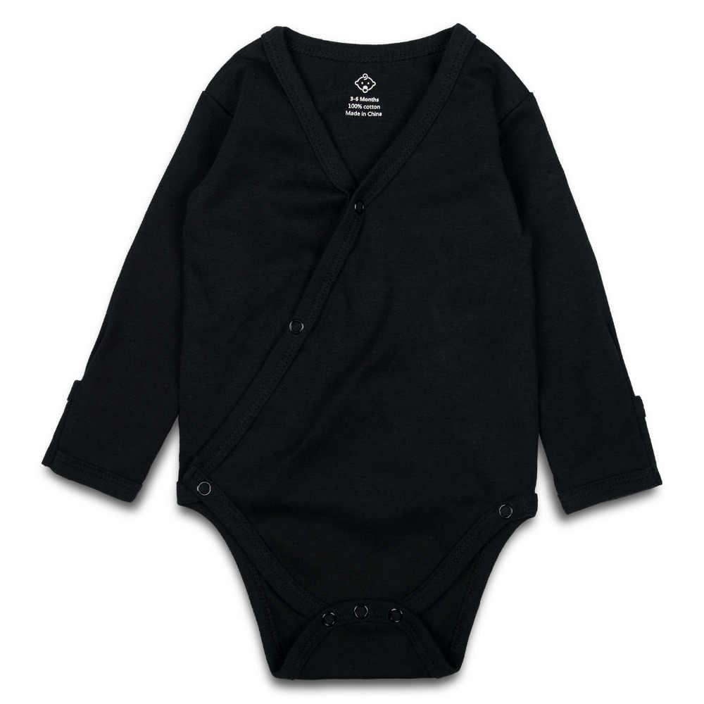 3 предмета, боди для новорожденных мальчиков и девочек, черное, с v-образным вырезом, унисекс, детское кимоно комбинезон, однотонная одежда с длинными рукавами для малышей, манжеты на рукавах