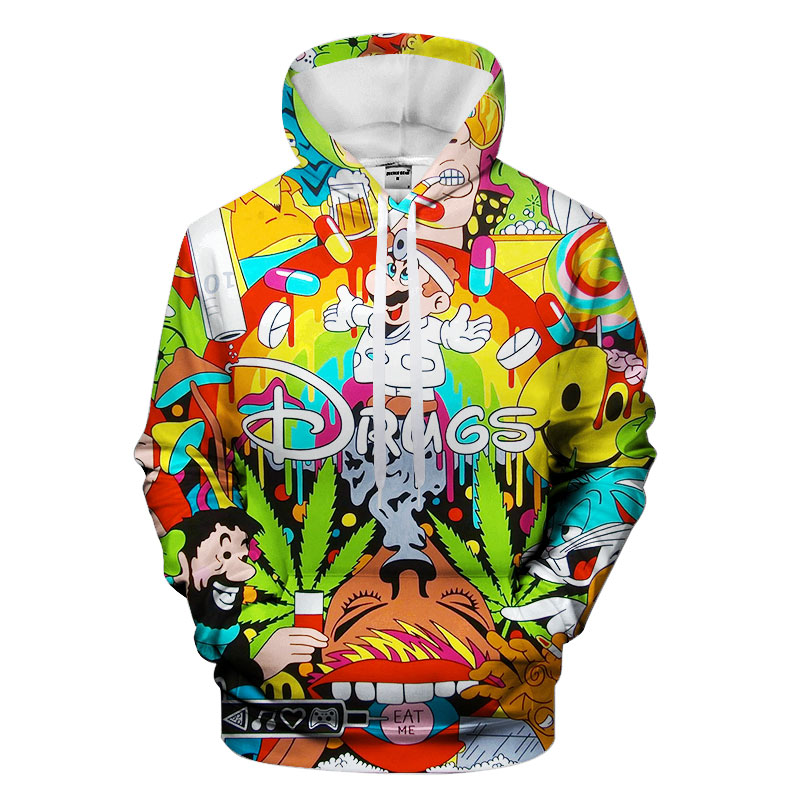 Colorful Drugs Hoodies Hooded Unisex Hat 3D Sweatshirts Print Colorful