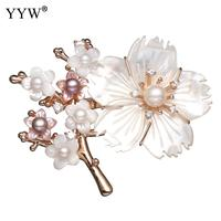 Luxury Real Freshwater Pearl Brooches Flower Shape Pearl Brooch Rhinestone For Wedding Bridal Dresses Clip Scarf