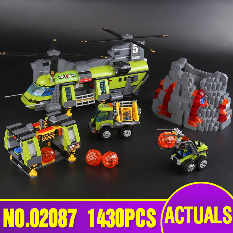Lepin 02087 New City Series The Volcano Heavy-Lift Helicopter Set 60125 Building Blocks Bricks Christmas New Year Gifts 1430Pcs ynynoo lepin 02043 stucke city series airport terminal modell bausteine set ziegel spielzeug fur kinder geschenk junge spielzeug
