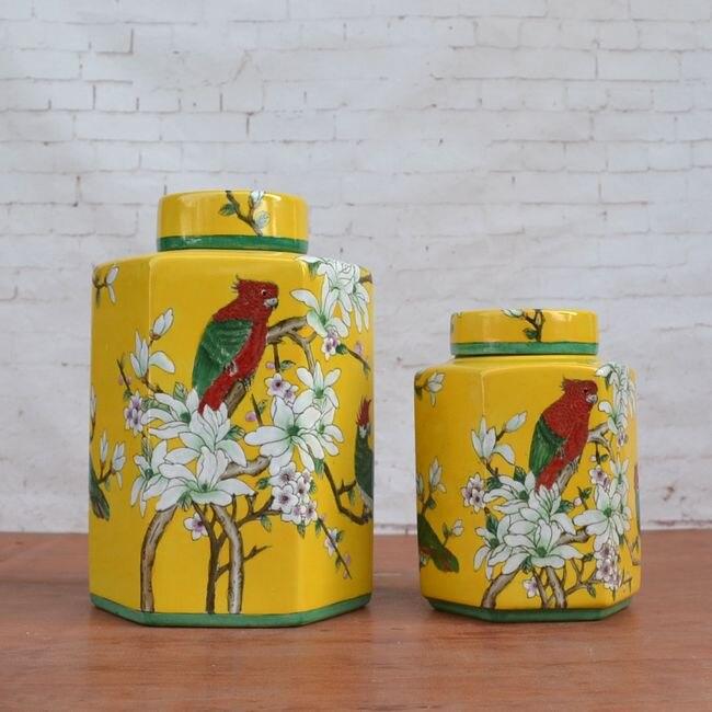 Tao Caicai peint en porcelaine pastel pot en céramique thé européen fleur jaune ornements ameublement pot en porcelaine