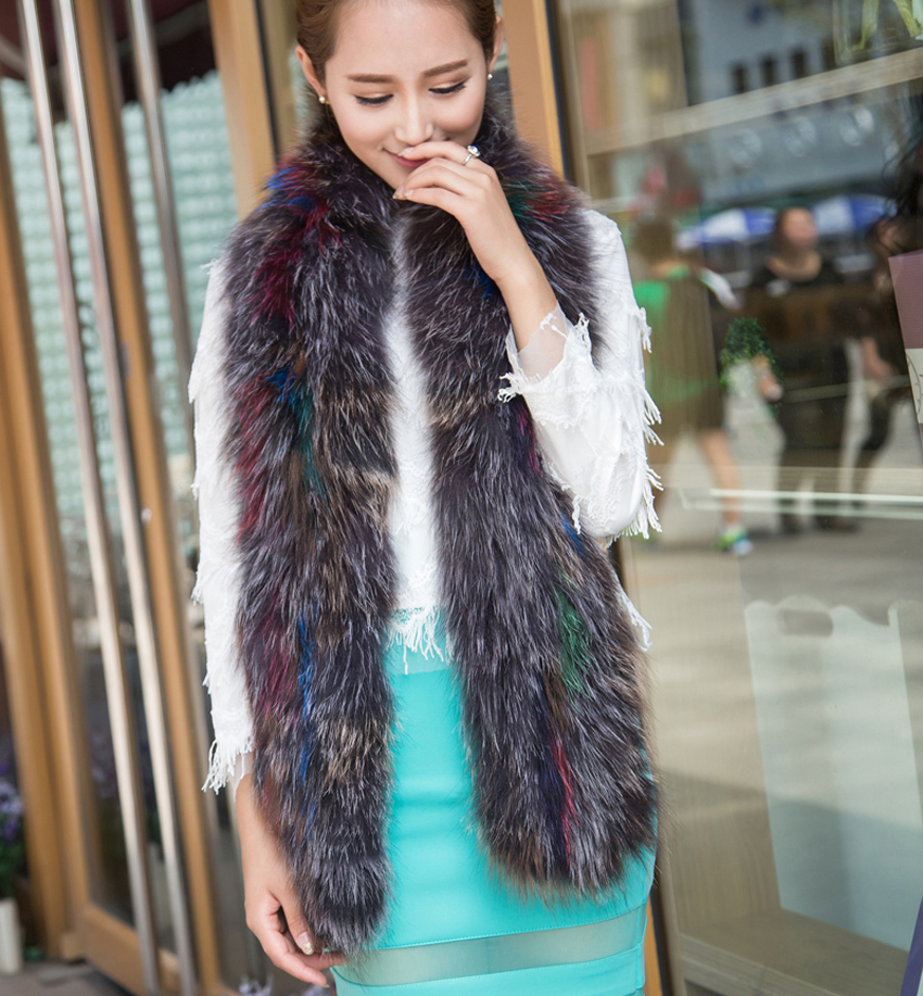 YCFUR Women   Scarves     Wraps   Winer Knit Fox Fur Long   Scarf     Wrap   for Ladies Soft Warm Neck   Scarves   Shawls Female