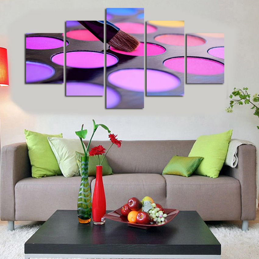 Modern Canvas Printing Colourful Paints 5 Pieces Canvas