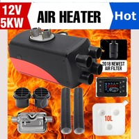 5KW 12V Air Diesels Heater Parking Heater Riscaldatore 4 Holes LCD Switch car heater Exhaust Silencer For Free