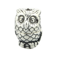 S925 Sterling Silver Owl Charm Beads Small Hole Fit for European Brand Troll Bracelet & Necklace Vintage DIY Jewelry Gift