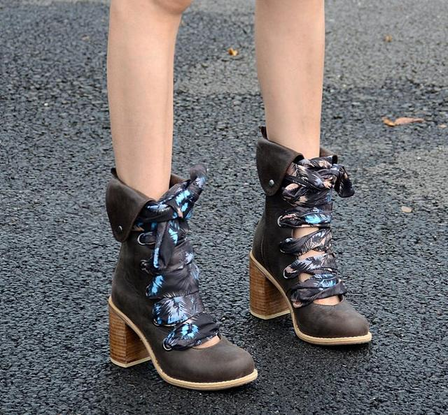 Genuine Leather Lace Up Booties