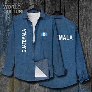 Guatemala Guatemalan GTM GT, мужская одежда с флагом, осенняя Модная Джинсовая рубашка с отложным воротником, Ковбойское пальто с длинными рукавами, Нов...
