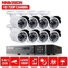 8CH AHD DVR Kit 1080 P Sistem CCTV 8 Channel AHD DVR Recorder + 1.0MP Outdoor Indoor Peluru Keamanan AHD sistem Kamera Dukungan P2P(China)