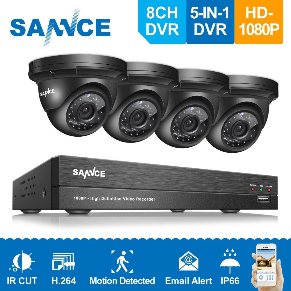 SANNCE 8CH 1080P Security Camera System 4pcs 1080P CCTV Camera 2.0MP outdoor Camera Video Surveillance Kit 1080P CCTV System