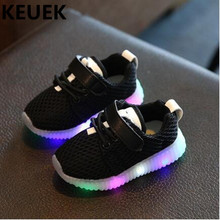 New Children Light Shoes Led Lighted Mesh Shoes Boys Girls Sneakers Glowing Casual Baby Toddler Luminous Shoes Kids Flats 044