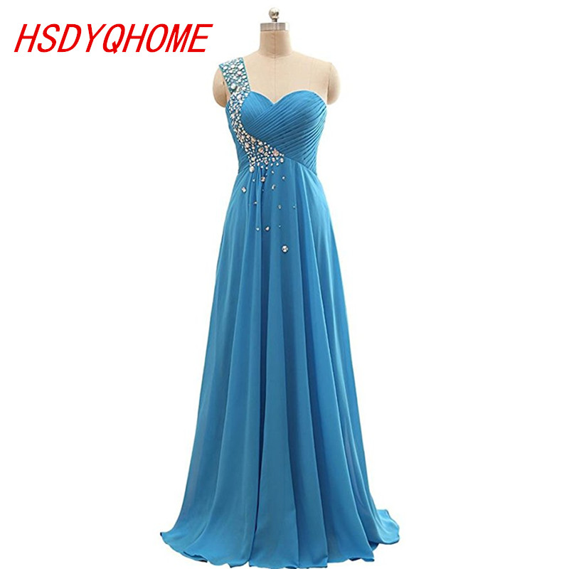 HSDYQHOME Sweetheart One-Shoulder   Evening     dresses   A-line Sleeveless Chiffon   Evening   prom gown Party