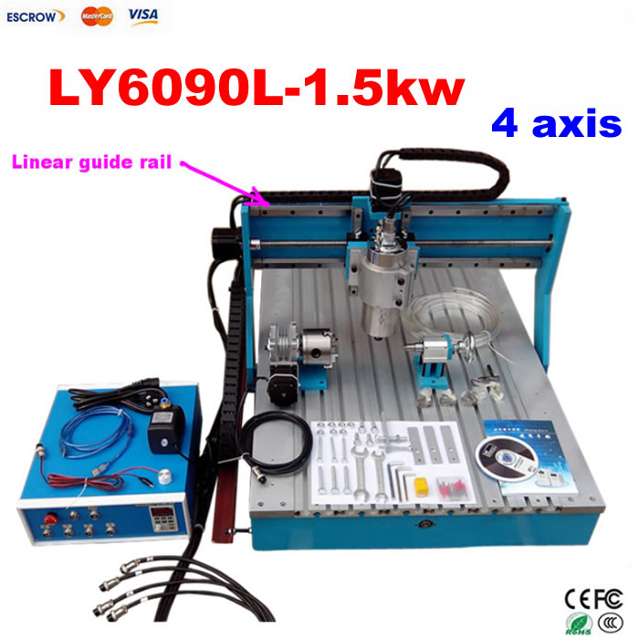 Hot sale Best 3D cnc wood carving machine 4 Axis CNC Router 6090 with 1.5KW VFD water cooled spindle for metal stone wood ly cnc 6040 z vfd 2 2kw usb 3 axis woodworking machine with water tank for stong metal wood