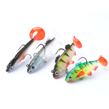 TOMA 4PCS Lead Head Fish Soft Lure Bait T Tail Fishing Lures 8g/9g/9.5g/13g Plastic Isca Artificial Treble Hook Fishing Tackle