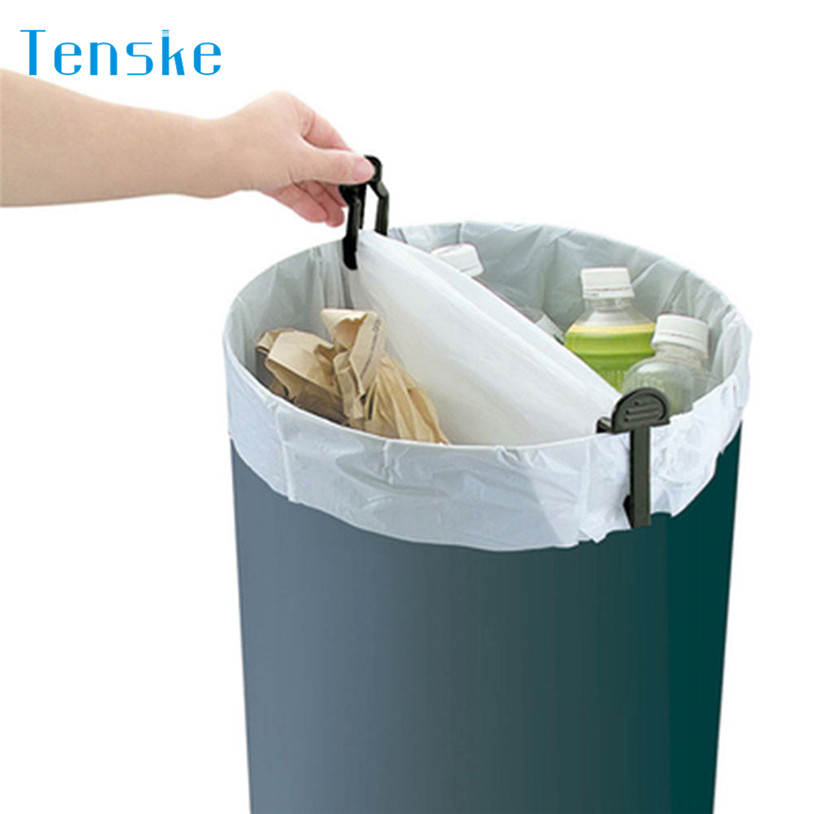 Bag Clips 2pcs Kitchen Trash Garbage Bag Dustbin Waste Bin Can Holder Fixed Clip Clamp u70803 LE2