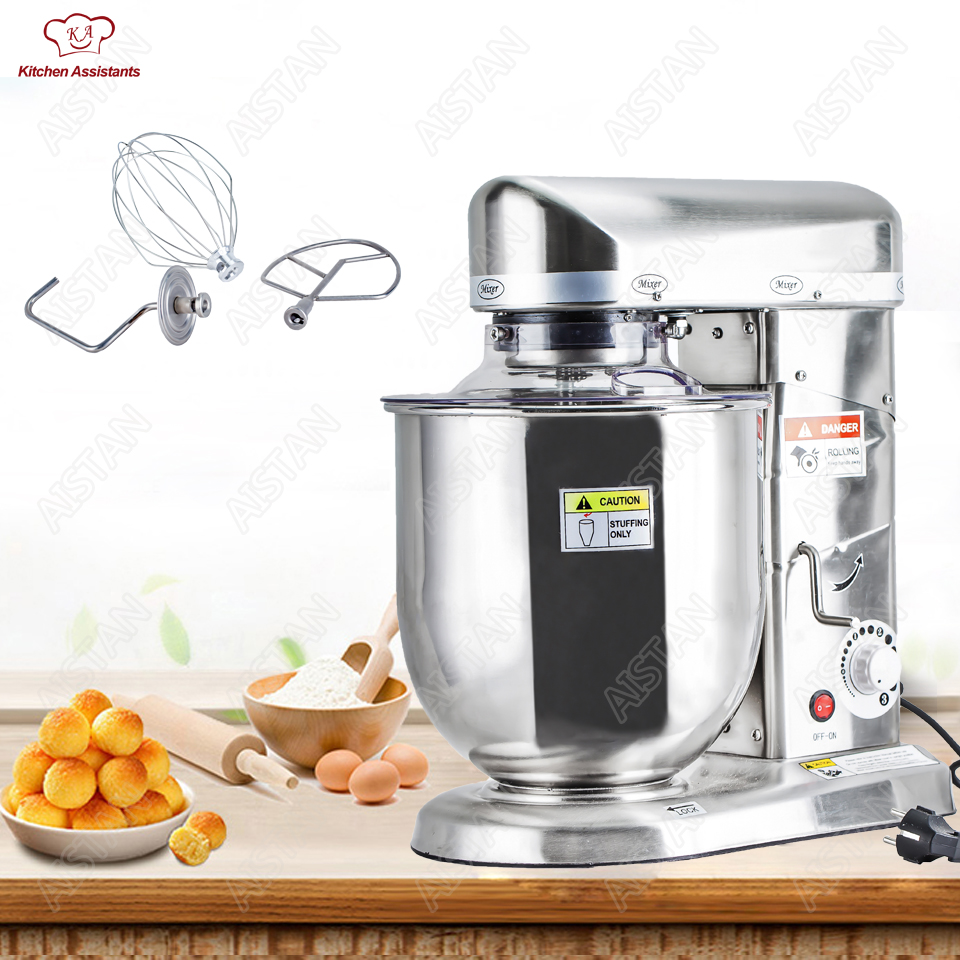 Electric commercial kitchen planetary food mixer blender mixer egg beater milk shaker bread spiral dough mixer machine hot sale free shipping 7 liters electric stand mixer food mixer food blender cake egg dough mixer milk shakes milk mixer