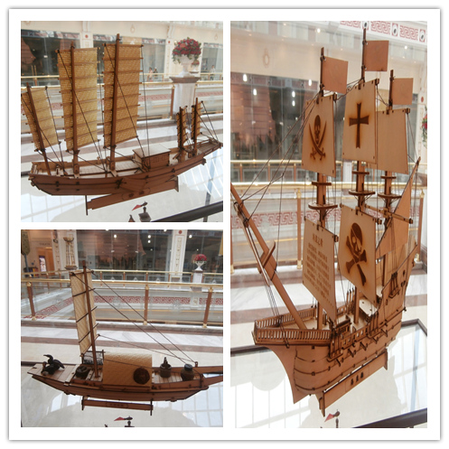 China canvas boat Taihu fishing boat Wooden ship model kit with resin birds