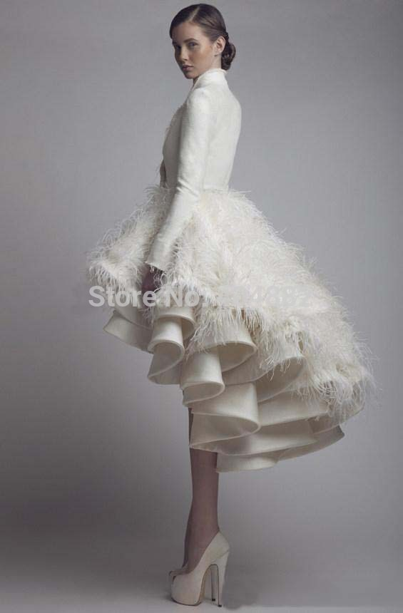 New Winter Short Wedding Dresses Ivory Satin Ruffles Skirt Long Sleeve High Low Bridal Dress Neck Ball Gown Gowns In From
