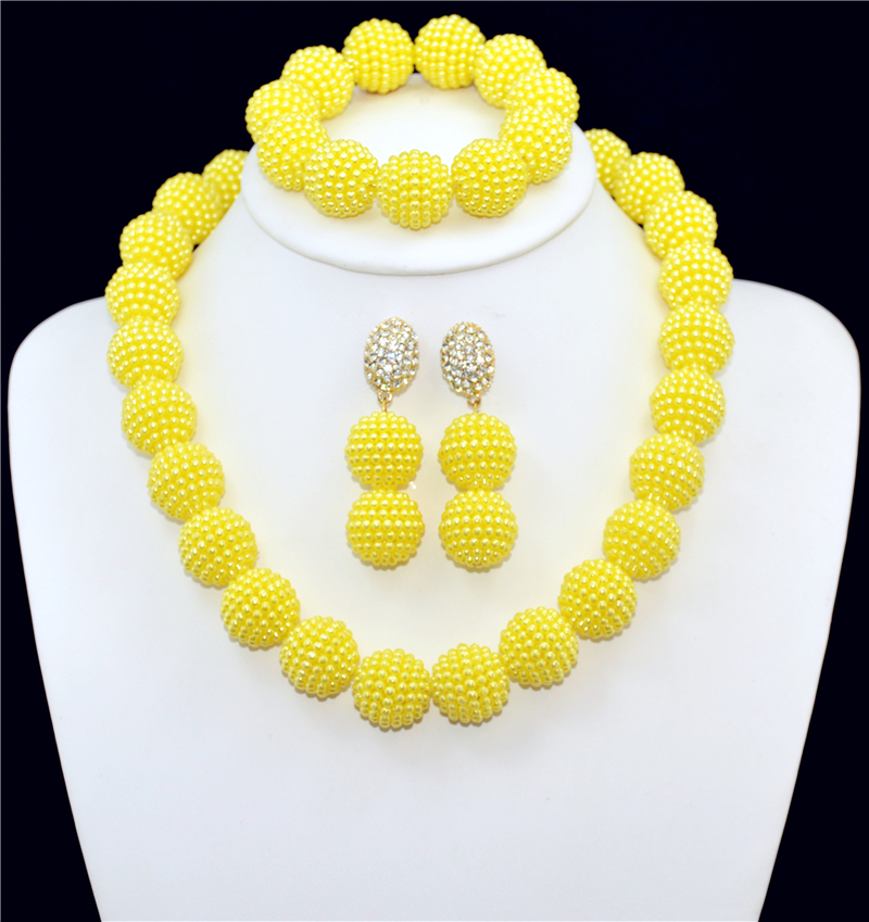 NEW Nigerian African Jewelry Set Well Made Yellow Imitation Pearl Nigerian Wedding African Beads Jewelry Set