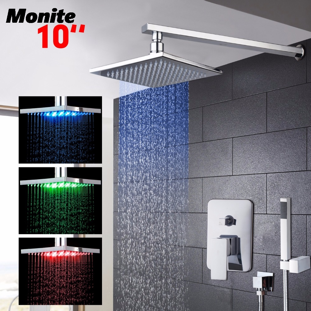 5 Years Warranty New LED10 Inch Solid Brass Bathroom Rainfall Shower Head W/Hand Sprayer Faucet Shower Set Faucets