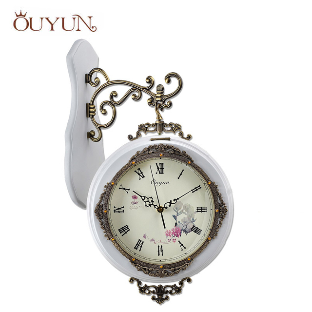 ouyun handmade wooden wall clocks home decor vintage modern design large decorative double sided wall clock