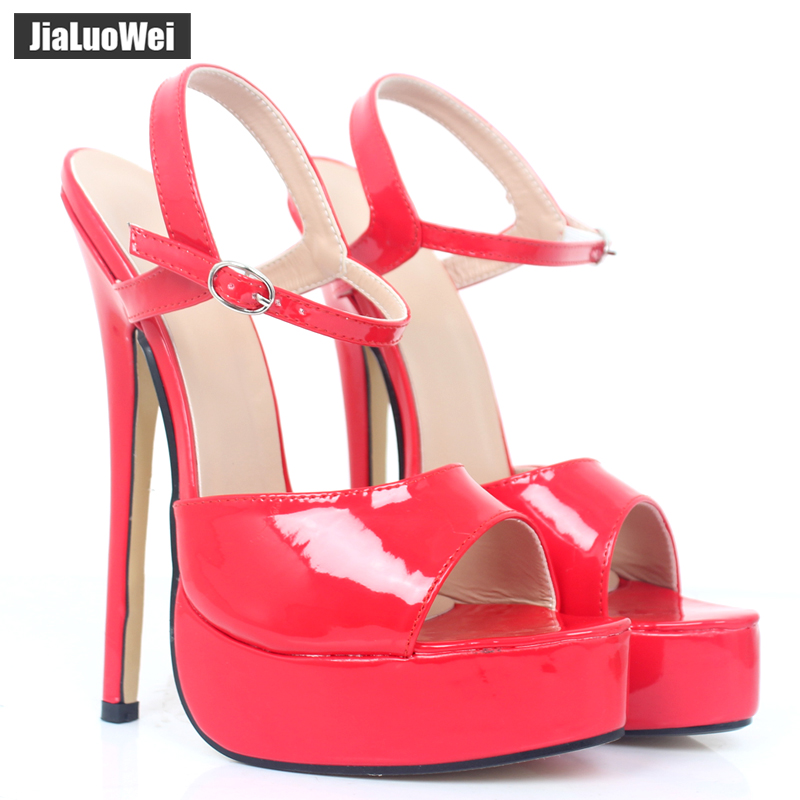jialuowei Ultra High 18CM Thin Heel Sandals women Platform Shoes Open Toe Ankle Strap Fashion sexy Fetish ladies Sandals