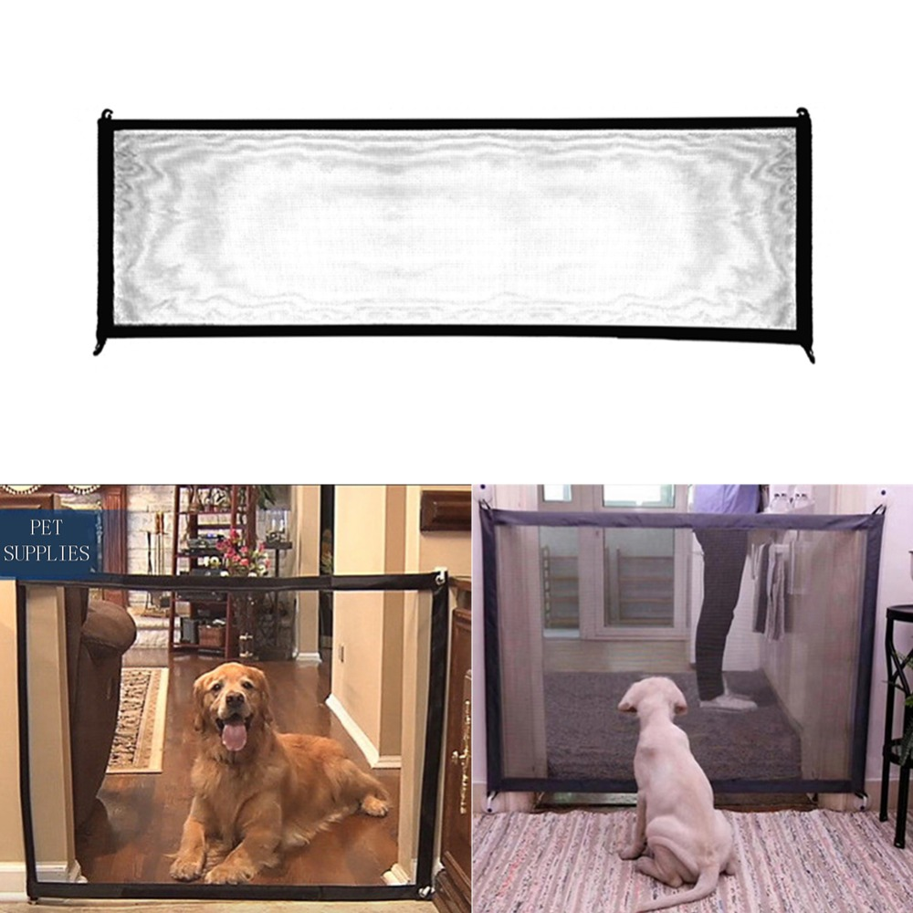 Dog Gate Folding Mesh Pet Gate For Dogs Safe Guard and Install Pet Dog Safety Enclosure Dog Fences DropshippingDog Gate Folding Mesh Pet Gate For Dogs Safe Guard and Install Pet Dog Safety Enclosure Dog Fences Dropshipping