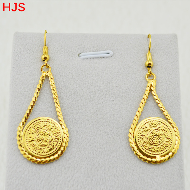 Arab Coins Accessories Women Party Gift 18k Real Gold Plated Antique Coin Earrings Fashion Jewelry