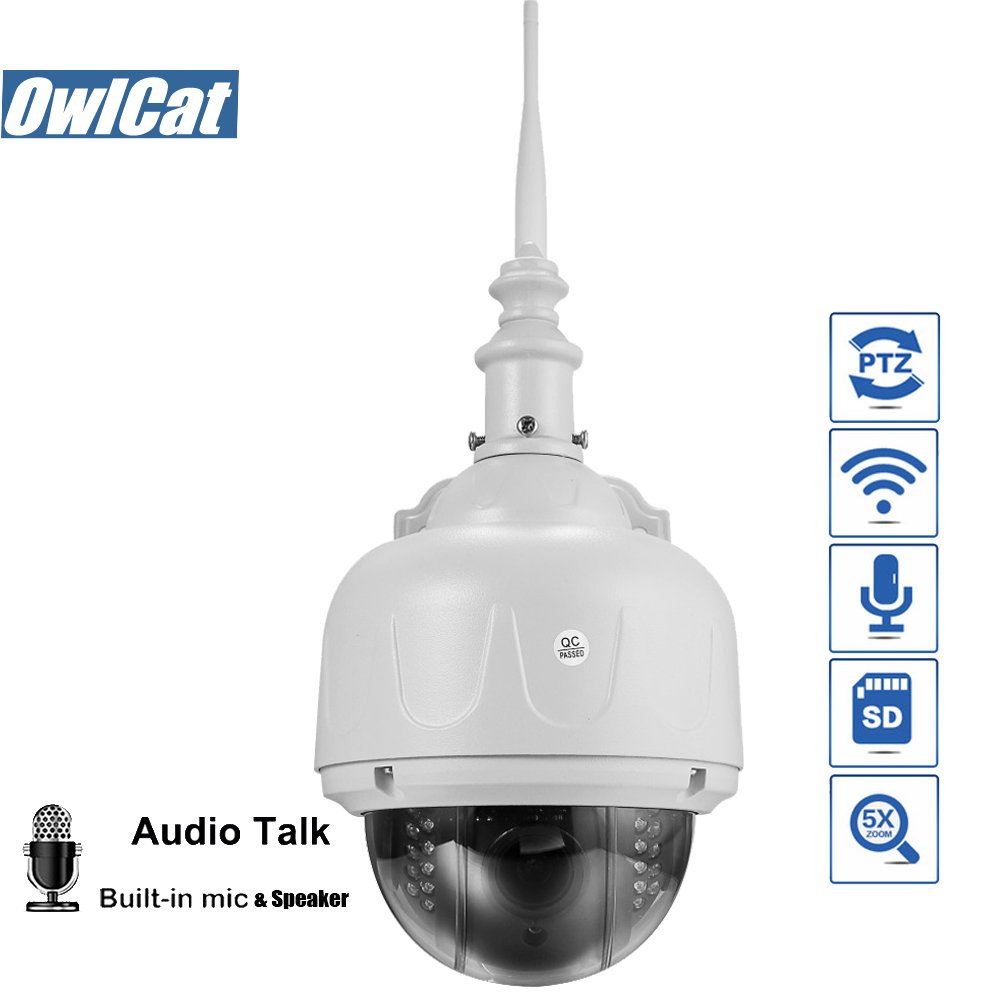 OwlCat HD 1080 p 960 p Outdoor Wireless Speed Dome PTZ Macchina Fotografica del IP di Wifi A Due Vie Audio 5X Zoom di Sicurezza macchina Fotografica del CCTV SD Card ONVIF2.4