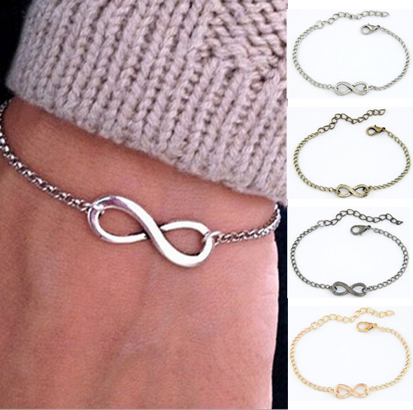 08968ee083 Fashion Jewelry Women Chic Punk Metal Sliver Infinite Chain Bangle Girls  Vintage Infinity Sign Casual Bracelet