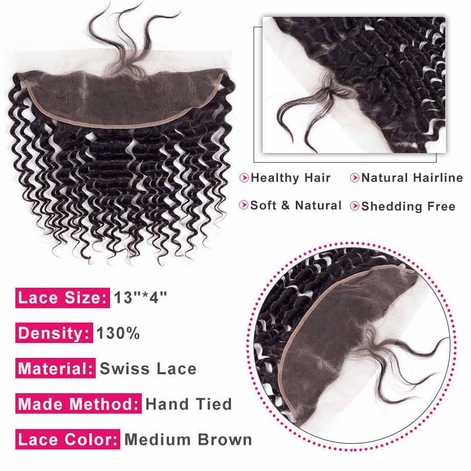 "Bling Rambut Gelombang Dalam Frontal 100% Remy Brazilian Rambut Manusia Renda Frontal Penutupan 13*4 dengan Bayi Rambut Alami warna Hitam 8 ""-22"""