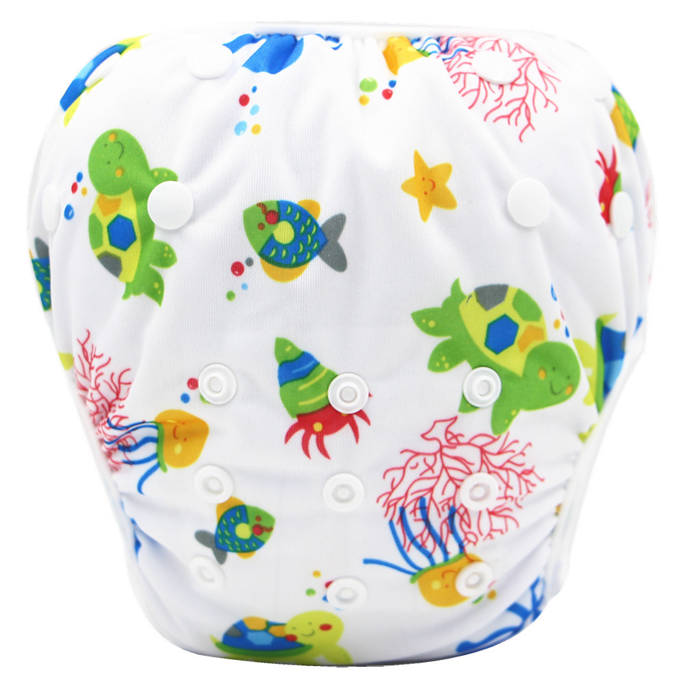 Baby Swimwear Washable Swim Diaper Cover Cloth Pants Reusable Baby Diapers Adjustable Infant Boy Girl Swimsuit Toddler Nappies