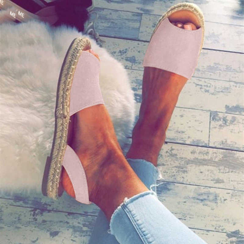 Summer Sandals Women Plus Size Flats Female Casual Peep Toe Shoes Faux Suede Slip On Elastic Band Leisure Solid Footwear