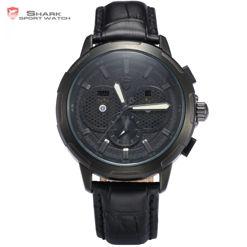 Horn Shark Sport Watch Auto Date Day Display Black Case Dial Leather Band Strap Quartz Mens
