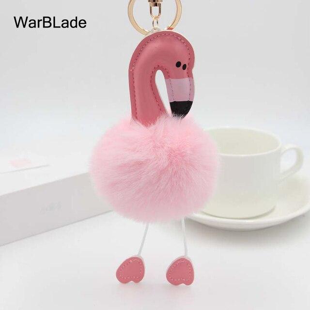 WarBLade Nova Flamingo Fofo Falso Pele De Coelho Bola Pompom Keychain Chaveiro Porte clef Mulheres Saco pompom Anel Chave Do Carro acessórios
