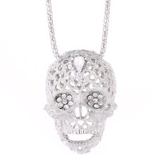 Fashion Stereo Skull Necklace high quality inlaid rhinestone Pendant jewelry long Chain Pendant Skull Necklace(China)