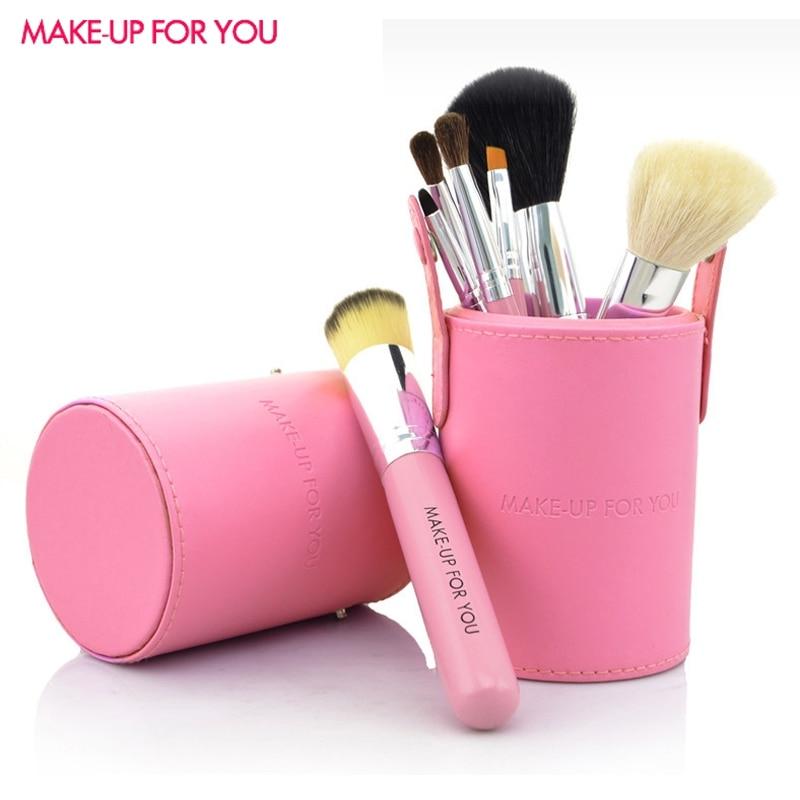 7Pcs Makeup Brushes Professional Goat Hair Make Up Brush Set With High Quality Purple Makeup Brush Holder Full Set Brushes