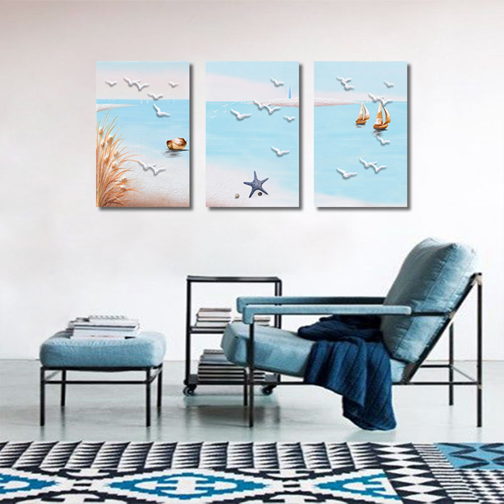 Unframed HD 3 Art Paintings Coast Canvas Sailboat seascape Living Room Seabird Decorative Painting Free Shipping