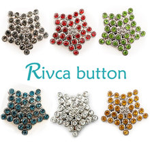 D01787 Wholesale 6 Color High Quality Charm Rhinestone Styles Metal Ginger Snap Button Charm Bracelet For Woman Rivca Jewelry