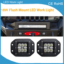 2pcs 18w Flood Dually Flush Mount LED Light Lamps Off Road 4x4 4WD Flush Mount 18W
