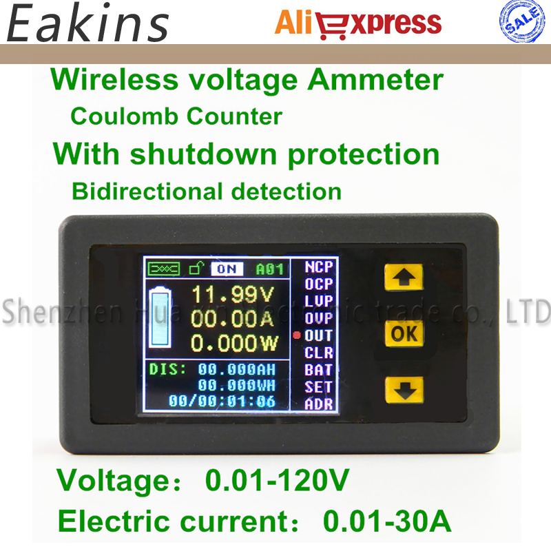 1030A Color Multifunction Digital LED power meter monitor Voltage KWh meter kw meter Volt Ammeter voltmeter 0.01-120V 0.01-30A  цены