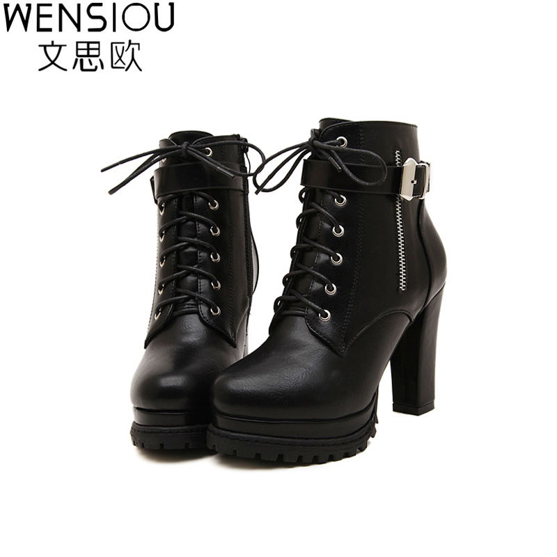 2015 Fashion Women Shoes Plus Size Celebrity High Heel Boots Platform Lace Up Thick Heel Ankle Boots For Women Black Boots BT25 new high heel thick heel ankle boots for women platform lace up women boots casual shoes woman