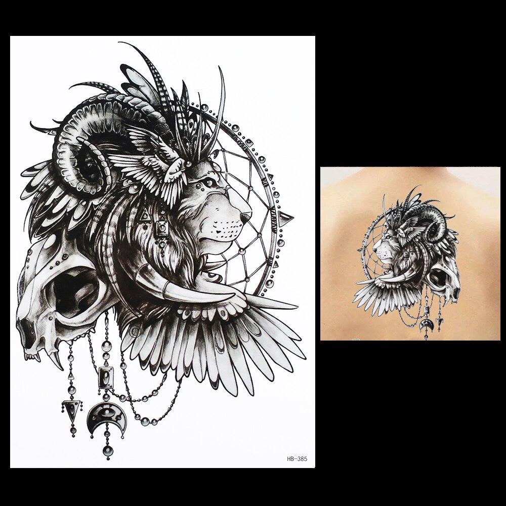 1pcs Temporary Tattoo Paste Paper Indian Lion Design HB385 Beauty Women Men Skull Wing Body Art Waterproof Tattoo Paint Stickers